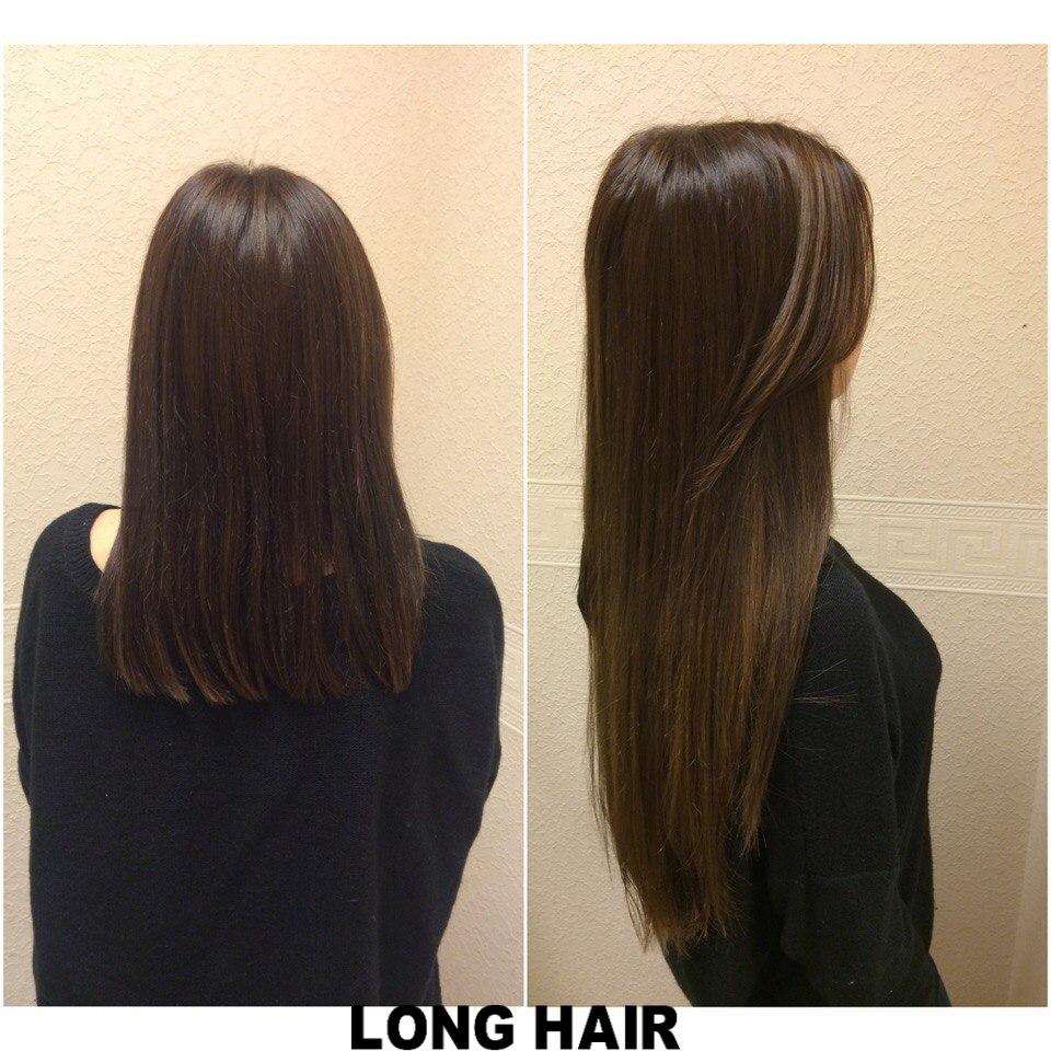 Наращивание волос до и после спб
